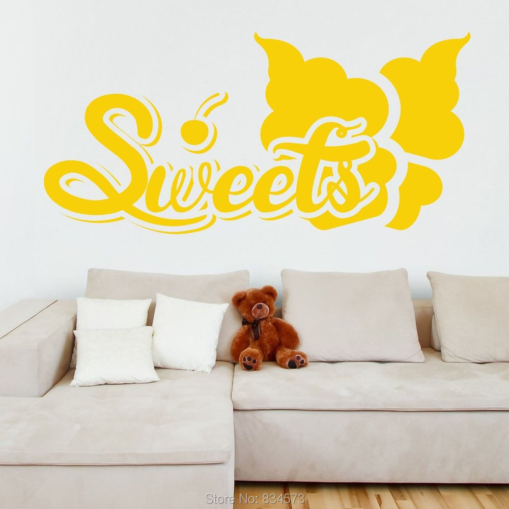 SWEETS Cherry Ice Cream Quote Wall Art Sticker Decal Wall Art Home ...