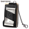 teemzone RFID Blocking Fashion Men's Top Genuine Leather 8-13 Credit Card ID Holder with Elasticity Money Clip Wallet Black K358