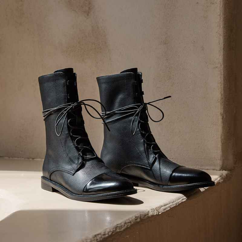 ALLBITEFO mikrofiber + hakiki deri düşük topuklu kadın yarım çizmeler yüksek kaliteli bayan botları deri çizmeler kızlar ayakkabı