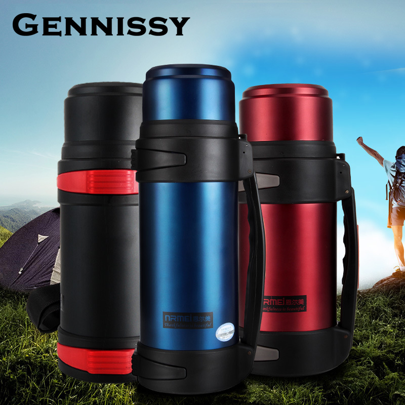 GENNISSY 1.5L Warmers Stainless Steel Household Vacuum Flask Male Outdoor Travel Pot Large Capacity Sport Camping Bottle