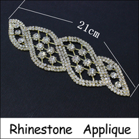 1pcs Lot 21cm Upscale Strass Rhinestones Applique Clear Shiny Crystals And Stones Gold Base Sew On