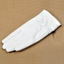 Svadilfari Новые натуральная кожа женские белые высококачественные Вечерние перчатки из овчины женские зимние милые розовые бархатные перчатки