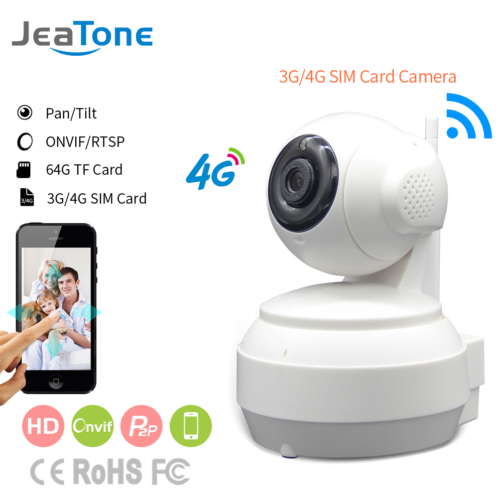 JeaTone 3G 4G SIM Card Mobile IP Camera HD 720P Video Transmission Via 4G FDD LTE Netowrk Worldwide Free APP For Remote