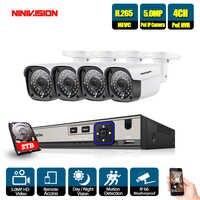 H.265 5MP CCTV Sistema di Telecamere di Sicurezza 4CH POE NVR Con IP Macchina Fotografica del CCTV Kit Impermeabile IP66 Video Sistema di Sorveglianza 2TB HDD