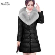 plus size S-6XL Women's genuine leather down outerwear down jacket women fox fur collar coats medium-long Winter warmth hoodies
