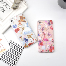 Shockproof Soft TPU Phone Cases For iPhone 6 6s Plus Transparent Cartoon Alice Relief Matte Phone Case Cover For iPhone 7 Plus