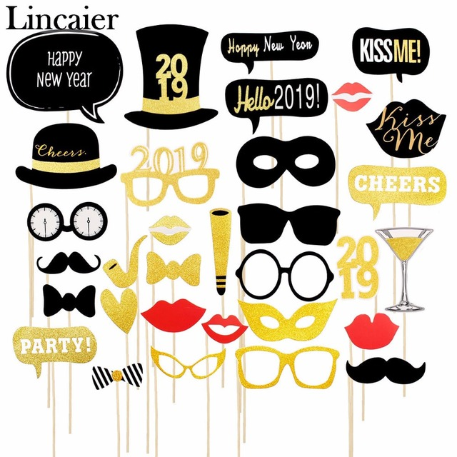 Lincaier 2019 Happy New Year Eve Photo Booth Props Decor Hats