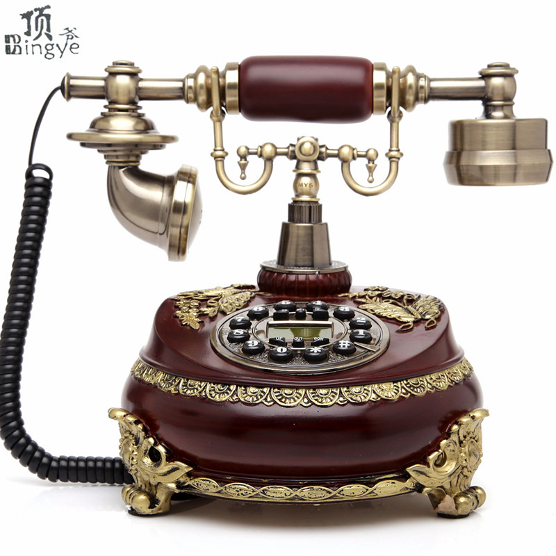 Ye are the top European antique telephone vintage home office fixed landline telephone Decoration home art electric wood vintage