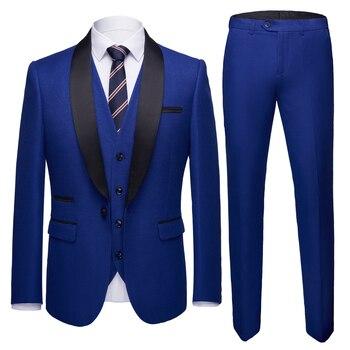 Men's wedding gown 2018 men's shawl collar 3 slim Burgundy suits men's royal blue tuxedo/ black dress for dinner