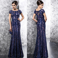 2016 Elegante Azul Royal Keyhole illusion Voltar Vestidos Para a Mãe Da Noiva Do Laço do Assoalho-Comprimento de Manga Curta Para casamentos