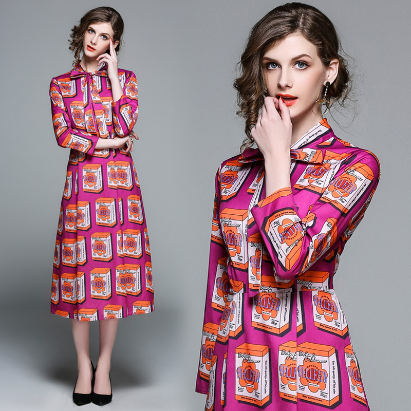 Milan Catwalk New High Quality Runway 2018 Spring Summer Fashion WomenS Party Boho Beach Vintage Printed Long Sleeved Dresses