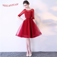 NIXUANYUAN 2017 Hot Sale Real Red Tulle Cocktail Dresses 2017 Short Imported Party Dress Appliques vestidos de cocktail With Bow