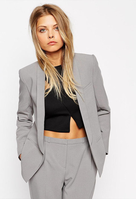 62cfcce1575 Custom made Light Gray Women Career Work Business Suits Formal Office  Western-style Pants Suits