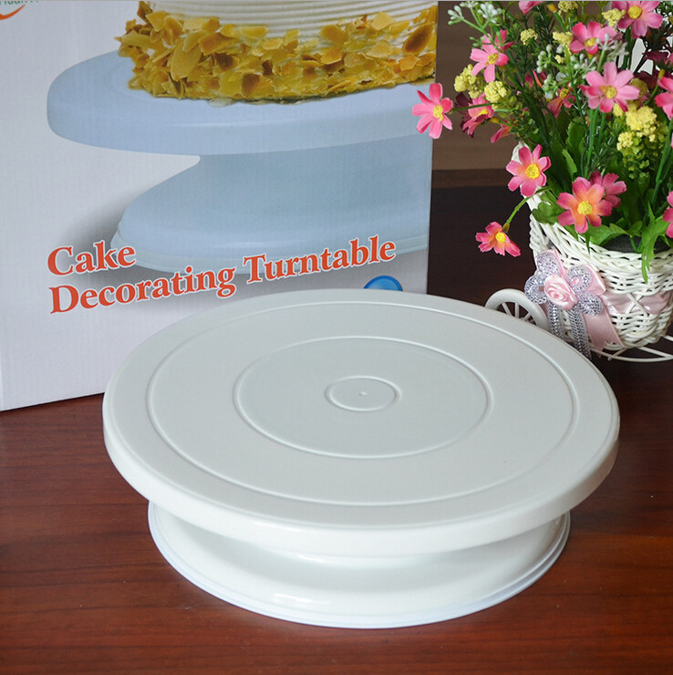 New Food Grade Plastic Material Cake Decorating Turntable Rotating Revolving Icing Kitchen Display Stand 28cm Baking