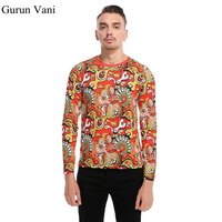New Men S 3D Abstract Pattern Long Sleeved T Shirt Fashion Casual Personality Tshirt Male Cotton