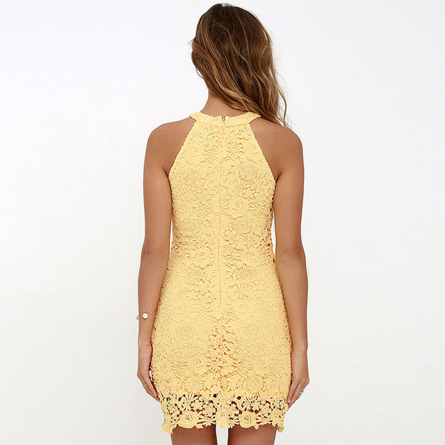 BEFORW Summer New Sexy Yellow Lace Dress Hollow Strapless Nightclub Women Dress Party Dresses High Waist Maxi XXL