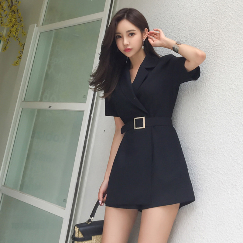 New Arrival Ladies Fashion Temperament Comfortable Jumpsuit Elegant Work Style High Quality Vintage Cute Black Playsuit Jumpsuit