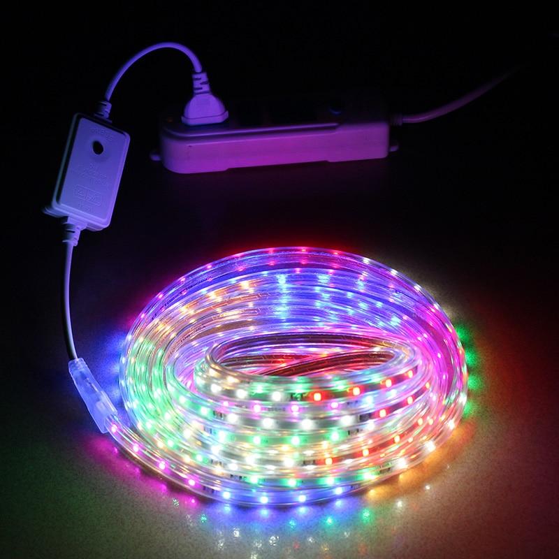 LAIMAIK SMD2835 led light strip waterproof 220V 48LEDs/m Flexible LED strip outdoor rgb led RGBW LED tape ip67 lamp with EU plug цена
