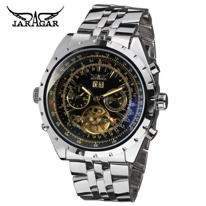 JARAGAR Men Luxury Brand Watch Stainless Steel Watches Tourbillion Automatic Mechanical Wristwatches Gift Box Relogio Releges winner women luxury brand skeleton genuine leather strap ladies watch automatic mechanical wristwatches gift box relogio releges