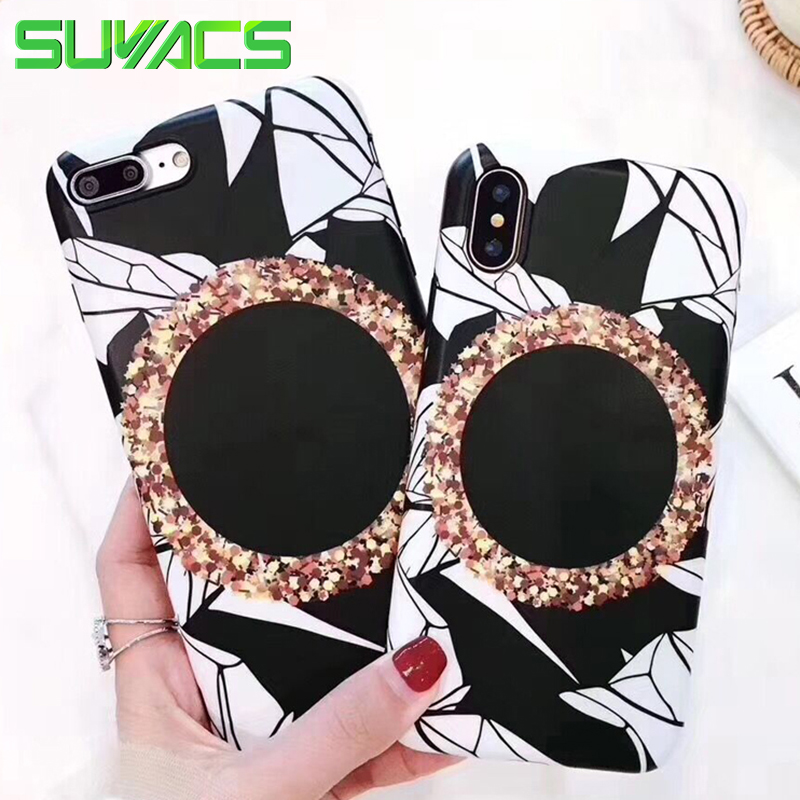 SUYACS Glossy Phone Case For iPhone 6 6S 7 8 Plus X Nordic Style Geometric Pattern Soft Silicon IMD Cases Cover Shells Fundas