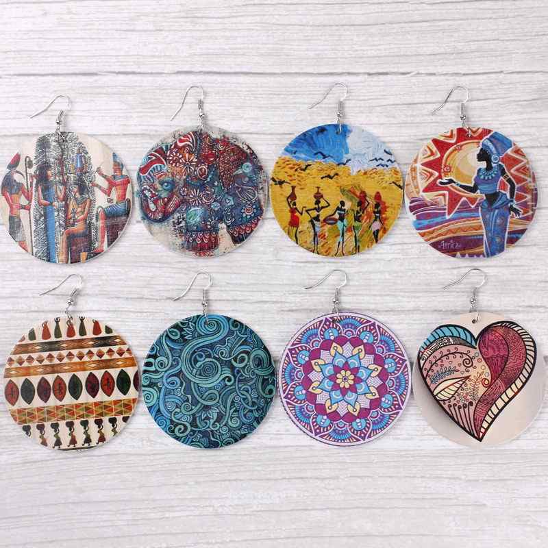 Ethnic Style Wood Disc Drop Earrings Paisley Print Wooden Disc Dangle Drop Earrings for Women African Jewelry Wood Round Earring