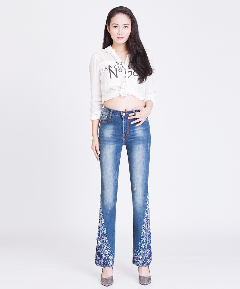 KSTUN FERZIGE New Jeans Woman Embroidered Trousers Lace Bell Bottoms Design Light Blue Stretch High Waisted Jeans Sexy Ladies Mujer 36 16