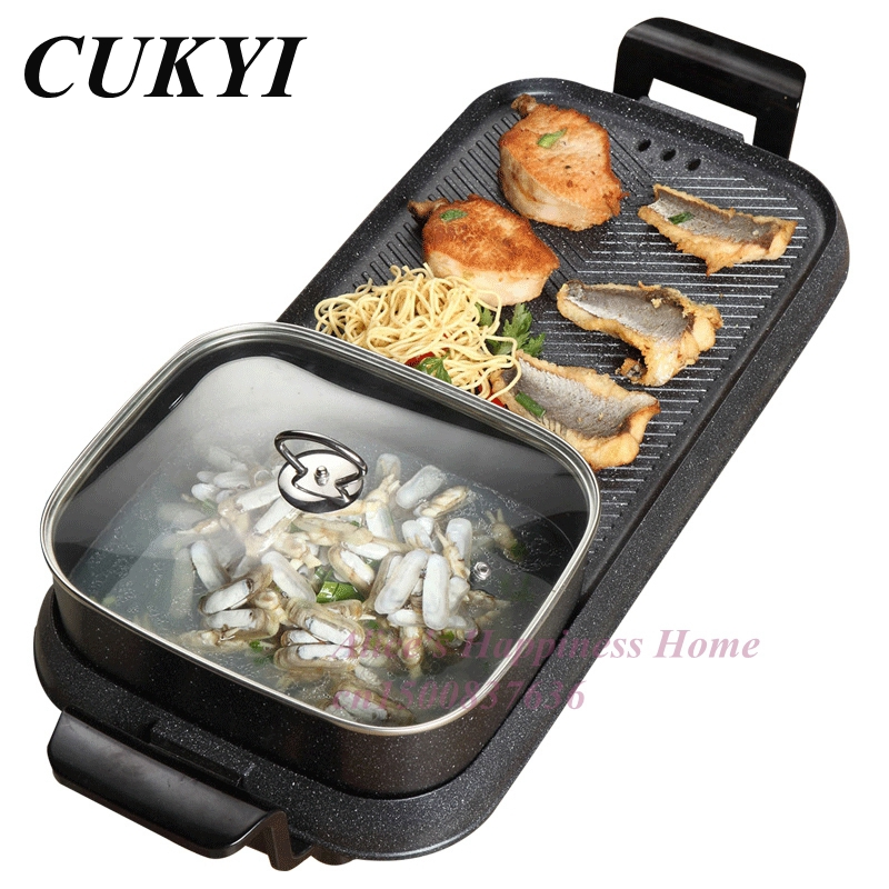 все цены на CUKYI Household electric oven Smokeless Rinse roast one boiler non-stick barbecue machine Electric baking pan electric grill