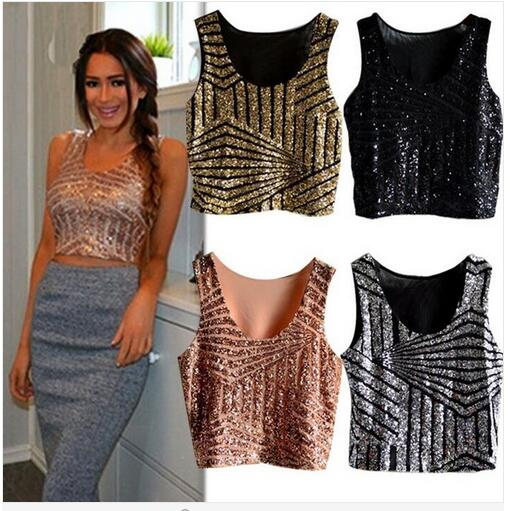 New 2017 Fashion Hot Sale Cheap Women   Tank     Top   Summer Vest Black Gold Sequin Crop   Top   Sexy Nightclub Costume Clothing