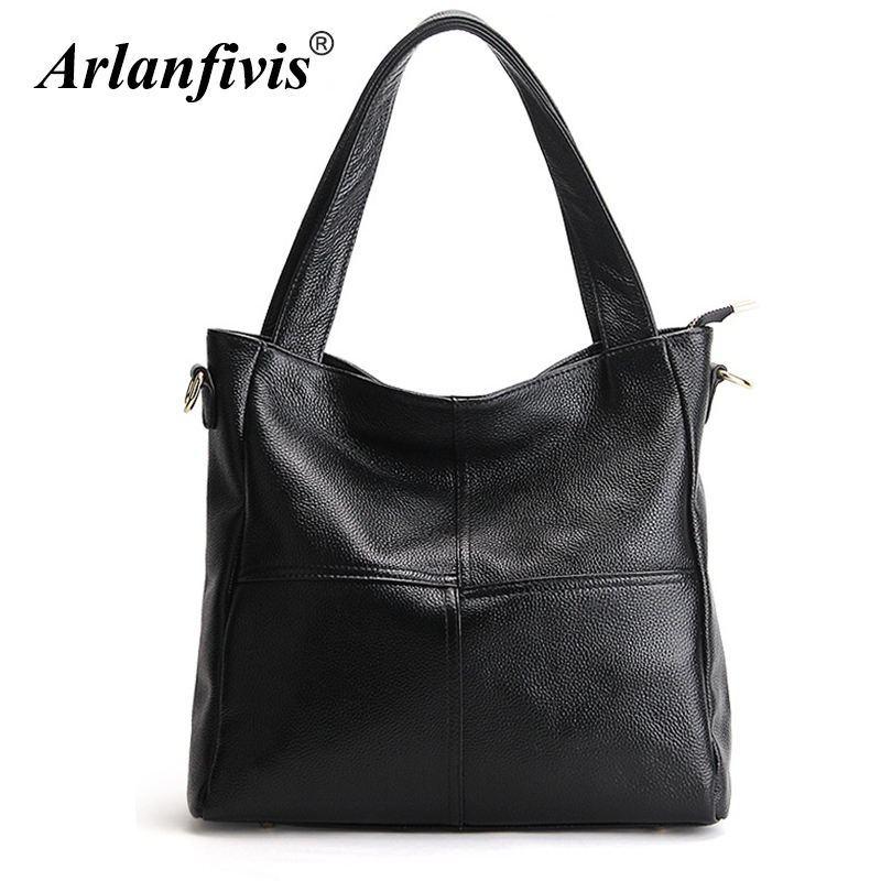 Arlanfivis Genuine Leather Luxury New 2018 Classic Fashion Woman Hobo Bag bolsa feminina Handbag Large Capacity Tote bag Purse arlanfivis genuine leather new designer 2018 fashion woman bag cowhide large capacity female handbag wide strap crossbody bags