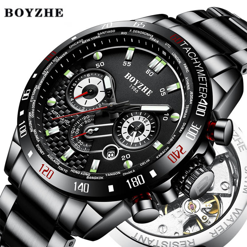 Automatic Mechanical Watches Men Luxury Brand Sports Watch Mens Waterproof Business Stainless Steel Leisure Fashion WristWatches