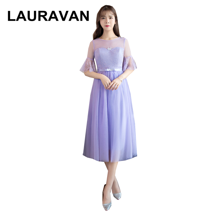 Robe De Soiree Short Lavender Elegant Bridesmaids Birthday Dress For Girls With Sleeves Beautiful Bridemaids Dresses Ball Gown