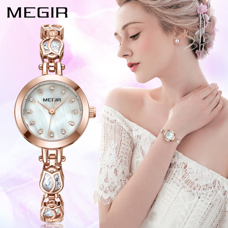 Megir quartz women watches top brand luxury ladies watch for lovers girl wristwatches clock for Watches brands for girl