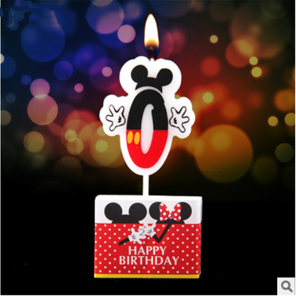 Delicate Cake Number 0 Candle Mickey Mouse Birthday Party Supplies Baby Shower Children