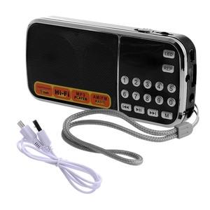 Image 4 - נטענת נייד מיני דיגיטלי סטריאו FM רדיו רמקול מוסיקה נגן עם TF כרטיס USB AUX קלט עם תצוגה ופנס