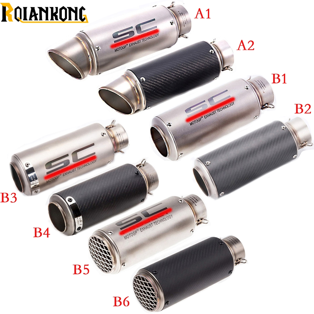 laser mark Universial Motorcycle Motorcross Dirt bike modified muffler SC carbon fiber exhaust pipe 61MM/51MM with connector free shipping carbon fiber id 61mm motorcycle exhaust pipe with laser marking exhaust for large displacement motorcycle muffler