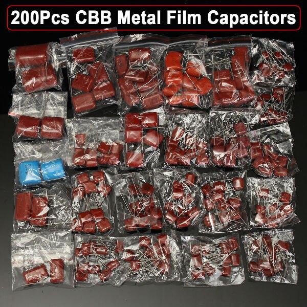 200pcs lot 25 Types 630V 0 001uf 2 2uf CBB Metal Film Capacitors Assortment Kit Free Shipping