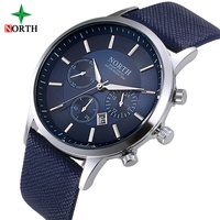 Men Watches Brand North Genuine Leather Silver Dial Casual Quartz Watches For Man Sport Wrist Watches