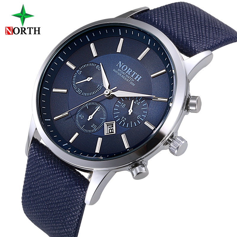 Luxury Brand North Men Quartz Watches Genuine Leather Waterproof Casual Wrist watches for Man Sport relojes Outdoor Clock