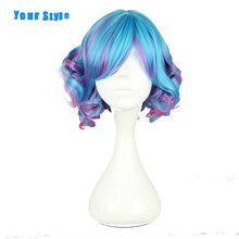 Your Style Short Wavy Cosplay Wigs Women Blue Pink Ombre Rainbow Hair Synthetic High Temperature Fiber