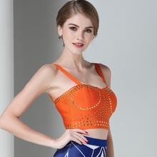 Claire 2016 Summer Style Solid Candy Orange Color Spaghetti Strap Women's Bandage Crop Top Drop Ship DC1024