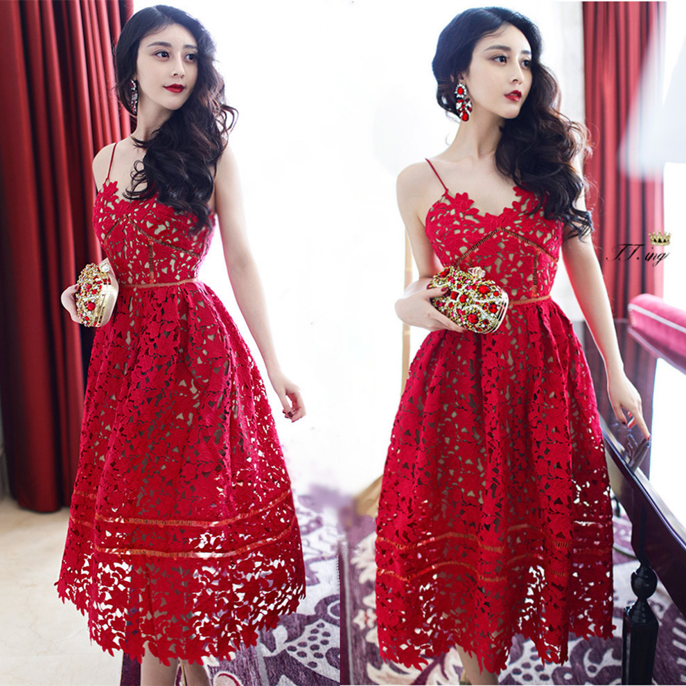 Red Lace Evening Dress Sexy Spaghetti Strap Ball Gown Hollow Out Condole  Belt Of Flower Dress Beach Party Women Long Dresses 0183c8c05