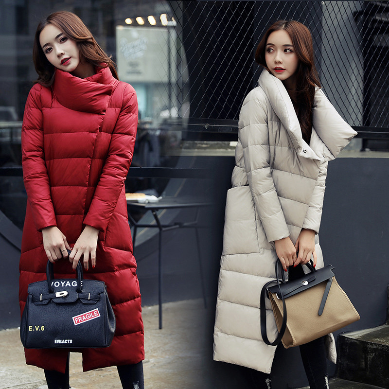 Women Winter Coat Down Cotton Padded Big Pocket Solid Color Outwear Female   Parka   Slim Long Warm Jacket Stand Collar Overcoat