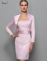 Dressv Pink Elegant Sheath Short Mini Mother Of The Bride Dress Strapless Zipper Up Cocktail Dress