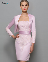 Dressv Pink Elegant Sheath Short Mini Mother Of The Bride Dress Strapless Zipper Up Cocktail Dress