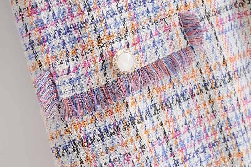 Женское элегантное твидовое клетчатое мини-платье с кисточками, с рукавом три четверти и круглым вырезом, женские повседневные Модные шикарные платья Vestidos