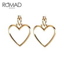 ROMAD Simple Hollow Size Love Heart Earrings Big  Pendant Long Drop Dangle For Women Fashion Jewelry R4