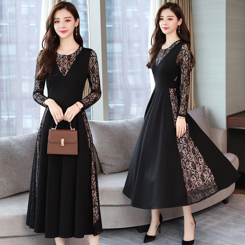 Autumn Winter Vintage Plus Size Lace Sexy Midi Dress 2019 Korean Elegant Women Bodycon Party Black Knitted Dress Maxi Vestidos