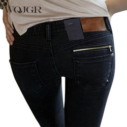 WQJGR Jeans woman Of 2018 New Female Pencil Pants Slim Slim Feet Black Jeans Trousers Women Jeans <font><b>Long</b></font> Pants
