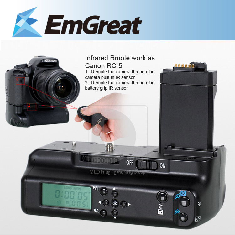 Meike lcd battery grip holder per canon fotocamera eos digital rebel xs xsi t1i 450d 500d 1000d + rc5 remote b4r spedizione gratuita
