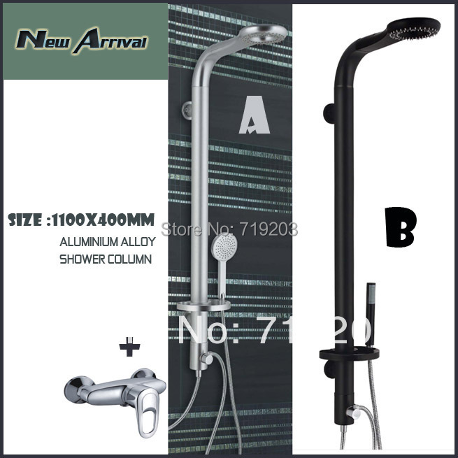 Shower Panel Aluminum Alloy Shower Column Black /Silver Color With Raintal Shower Head With shower faucet